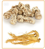 Dong quai raises estrogen levels and red ginseng stimulates the body.